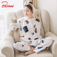 Bejirog Pyjamas Women S Pajamas Sets Plus Size Top And Bottom Thick Flannel Animal Sleepwear In