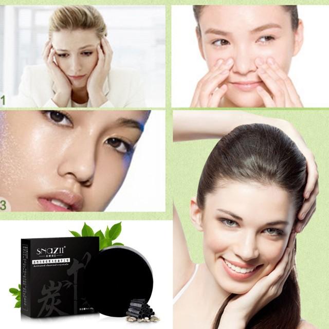 Handmade Soap Bamboo Charcoal Skin Care Treatment Natural Skin Whitening Soap Blackhead Remover Acne Treatment Control Oil 1