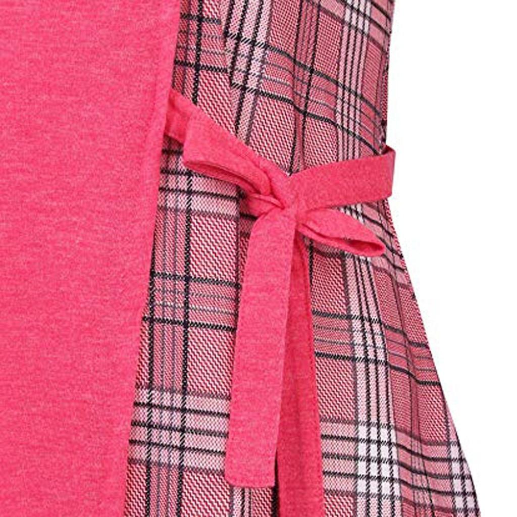 cuello De Cuadros Las hot Tamaño Tops Bloque Mujeres Manga Gran Blusas 2019 A gray O Color Femenina Pink Camisa Feitong Larga Blue xwRq6vIX
