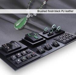 Zwart Hout Display Set Sieraden Stand Showcase Holder Ring Oorbel Hanger Ketting Bangle Armband Ketting Organizer met Base Pad