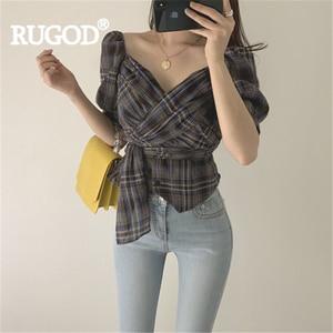 RUGOD النساء منقوشة خمر قميص الخامس الرقبة نفخة كم عالية الخصر التعادل شيك ضئيلة بلوزة جديد الصيف الأزياء الإناث أنيق فائق موهير