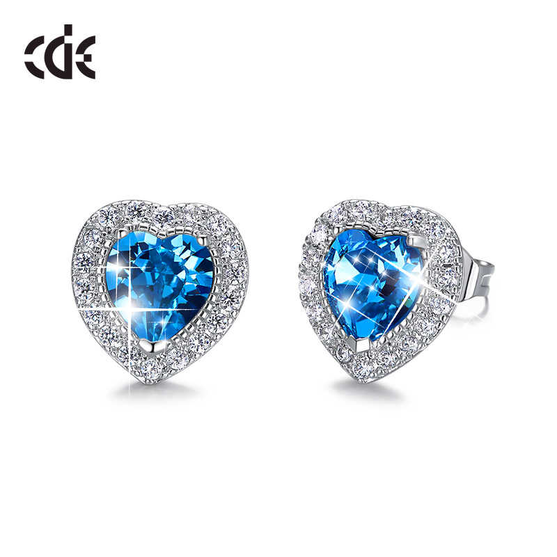 CDE Stud Earrings For Women Embellished with crystals Heart Crystal Earrings Ear Jewelry Gitts Brincos 2019