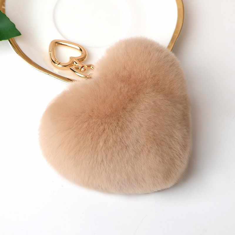 Venda quente Bonito Mulheres 100% Real Rabbit Fur Pompom Fofo Forma de Coração Pingente de Chave Do Carro Chaveiro Anel de Moda Jóias