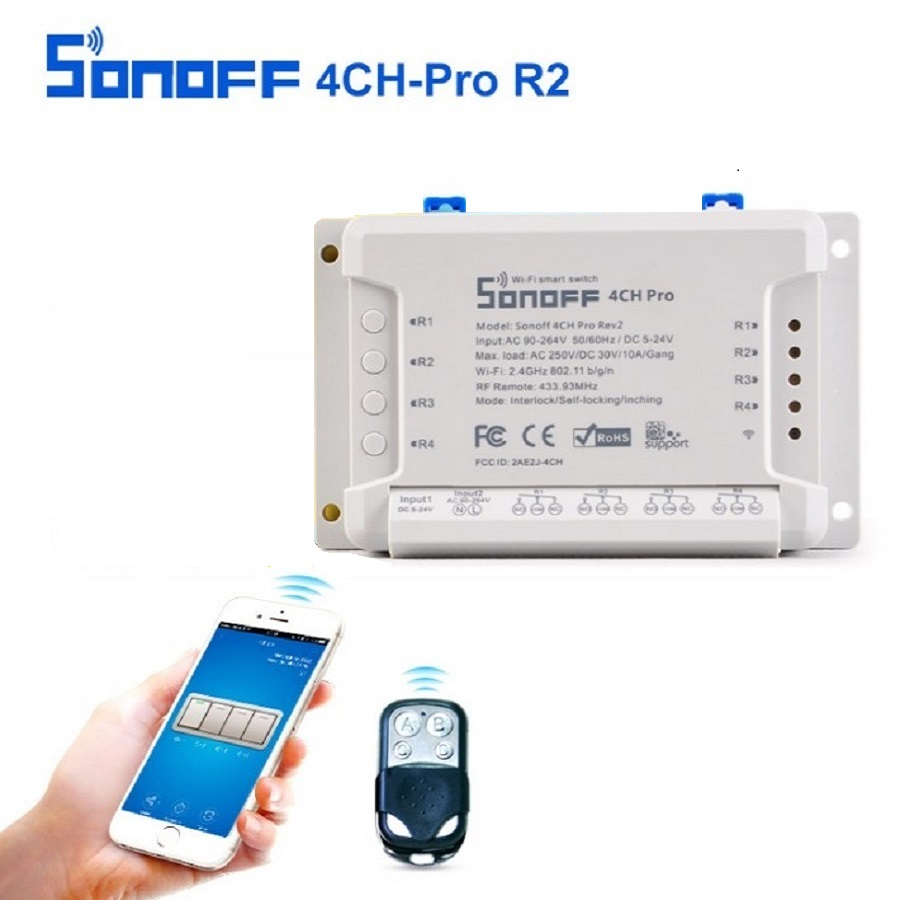 SONOFF 4CH Pro R2 10A 2200W 433MHz RF Inching/Self-Locking/Interlock Smart Home WIFI Wireless h APP Remote Automation Module