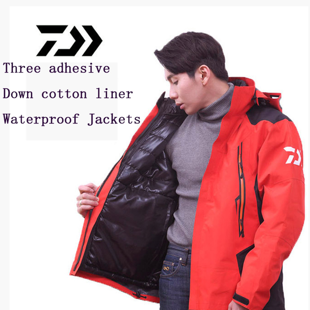 Cheap Fishing Clothes Down Cotton liner 3 laminated plastic fabric Both sides wear Outdoor sports waterproof windproof warm jacket