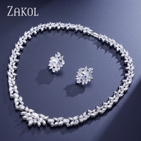 Luxury White Gold Plated Water Drop Cluster Round Shape AAA Swiss Cubic Zirconia Diamond Jewelry Set