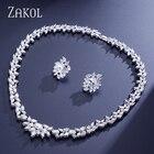 ZAKOL Luxury Sliver Color Water Drop Cluster AAA+ Cubic Zirconia Jewelry Set For Bridal Wedding Jewelry Dre s FSSP156
