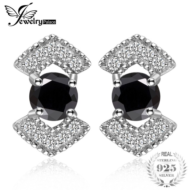 JewelryPalace Elegant 0.73 ct Genuine Black Spinel Studs Earrings 925 Sterling S