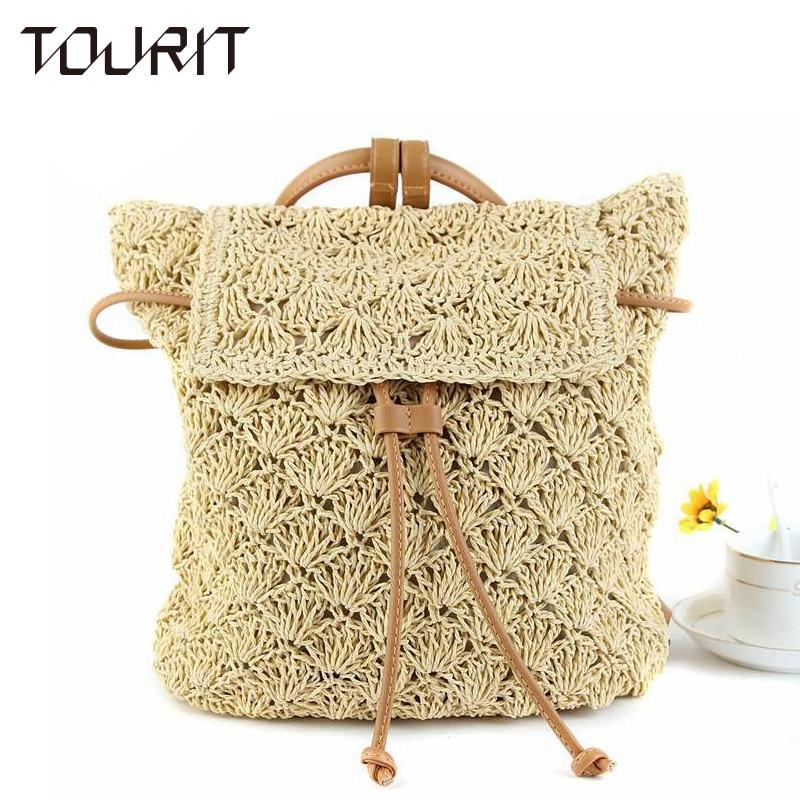 Multi-Functional Straw Backpack Leisure Straw Bag Manual Made Grass Tote Beautiful Beach Bag Straws School Bag Backpacks
