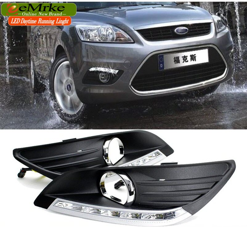 eeMrke Car LED DRL For Ford Focus 3 MK3 High Power Xenon White Fog Cover Daytime Running Lights Kits  недорого