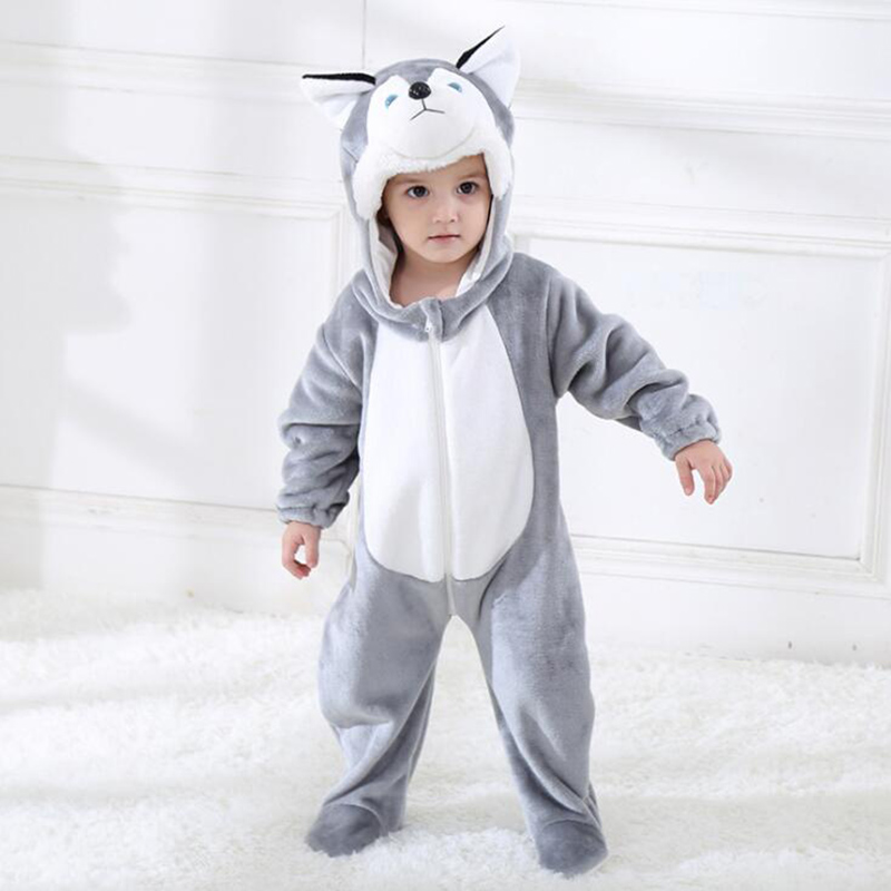 Baby Grey Dog Kigurumi Pajamas Clothing Newborn Infant Romper Animal Onesie Cosplay Costume Outfit Hooded Jumpsuit Winter Suit