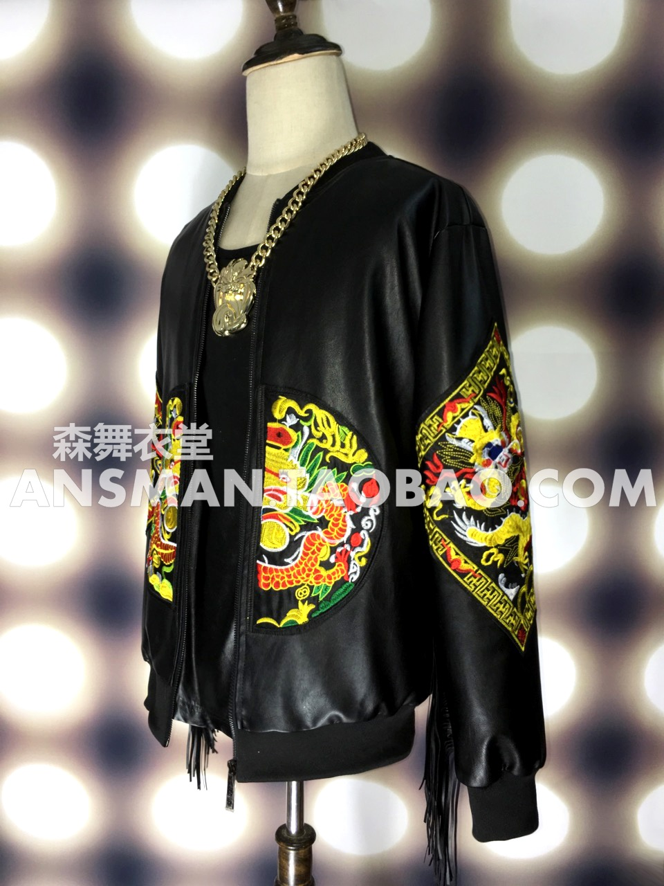 Personality Chinese Embroidery Dragon Robe Black Leather Baseball Uniforms Bars Nightclubs Male Singer Dj Stage Clothing Set Home
