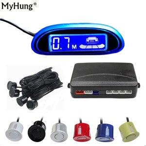 Image 1 - New Blue Screen Parking Sensor Car Parking Assistance 4 Sensors And led display Reverse Backup Radar Monitor Detector System