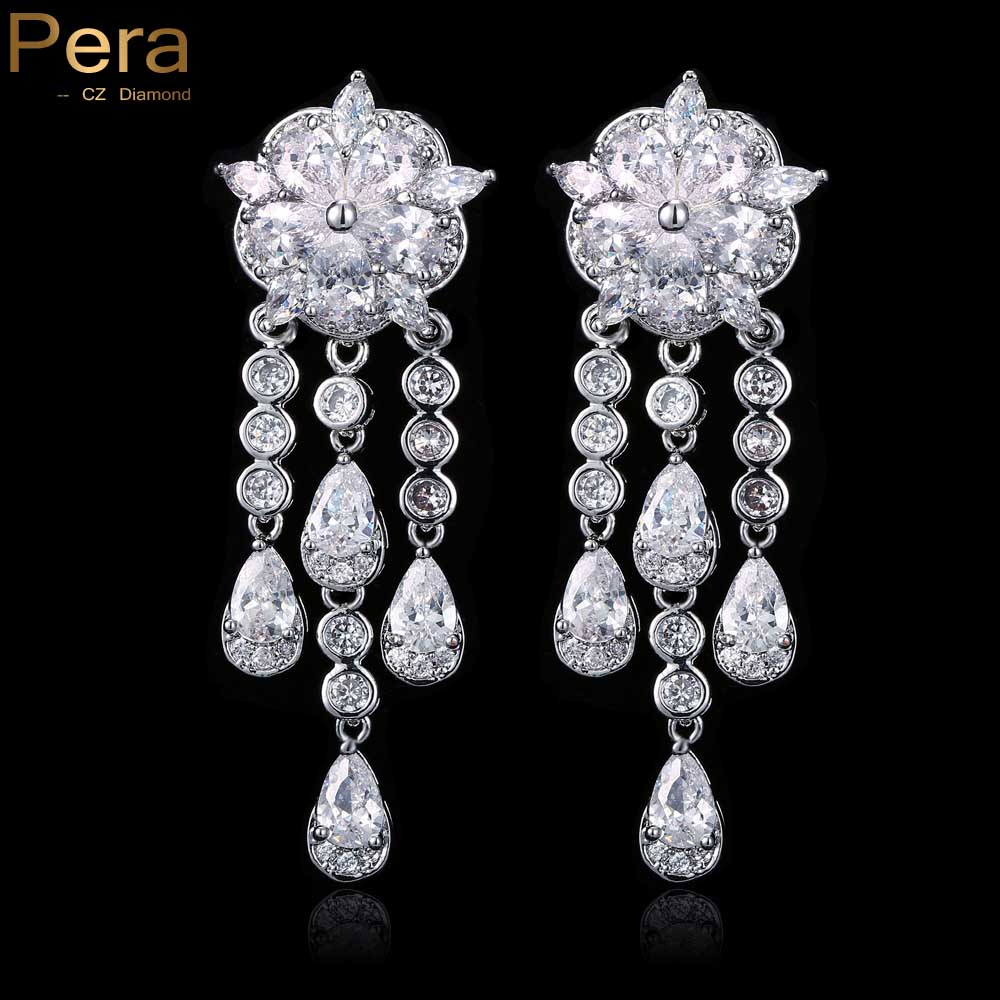 Luxury White Gold Color Bridal Wedding Party Big Cubic Zirconia Crystal Long  Chandelier Drop Earrings Jewelry