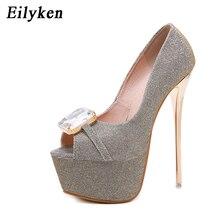 Eilyken Wanita Pumps Sepatu Hak Tinggi Wanita Sexy Peep Toe Crystal Pompa  Sepatu Biru Emas Hitam fcb3f7da8d44