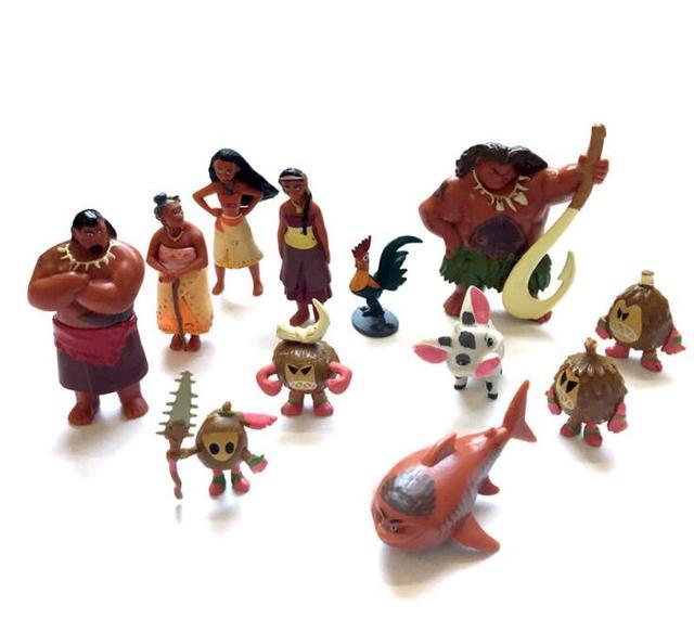 12 шт./лот Моана фигурки waialiki Мауи heihei Приключения Моана кукла ПВХ Модель принцессы игрушки коллекция Детский подарок