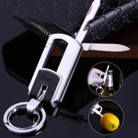Creative Multi Function Opener Fruit Knife Car Keychain Motorcycle Keychain Mens Key Chain Double Ring