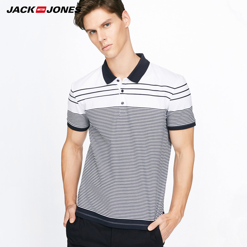 Jack&Jones Brand 2018 NEW business casual stripes lapel short sleeves male   Polo   |217306511