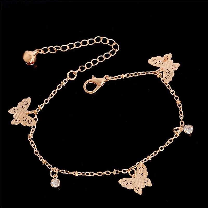 fe19f60d89a5 Qcooljly Womens Rose gold color mariposa tobillera pulsera moda pie joyería  Accesorios