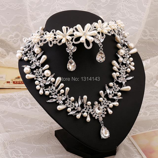 2016 de gama alta de novia conjuntos de joyería de perlas al por mayor tiara de la boda collar de tres piezas de collar de perlas conjuntos de novia accesorio