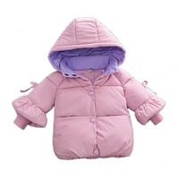 Fashion Newborn Girl's Long Sleeve Cotton Liner Down Jackets Pure Color Hoooded Warm Baby Girl Winter Coat Thick Infant Snowsuit