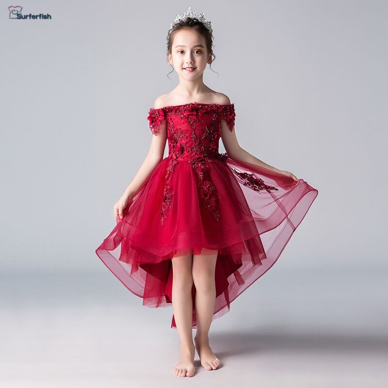 Free Shiping Toddler Girls 3D Flowers Shoulder off Party Dress Lovely Holiday Dress Princess necklune Valentine