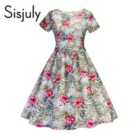 Sisjuly Vintage Dress Summer A Line Zipper Floral Dress Mid Calf Color Block Women Elegant Party