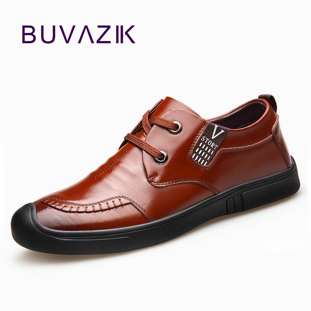 BUVAZIK 2018 mens top quality genuine leather derby shoes,comfotable and soft simple lace-up casual shoes men simple smiley face and lace up design men s casual shoes