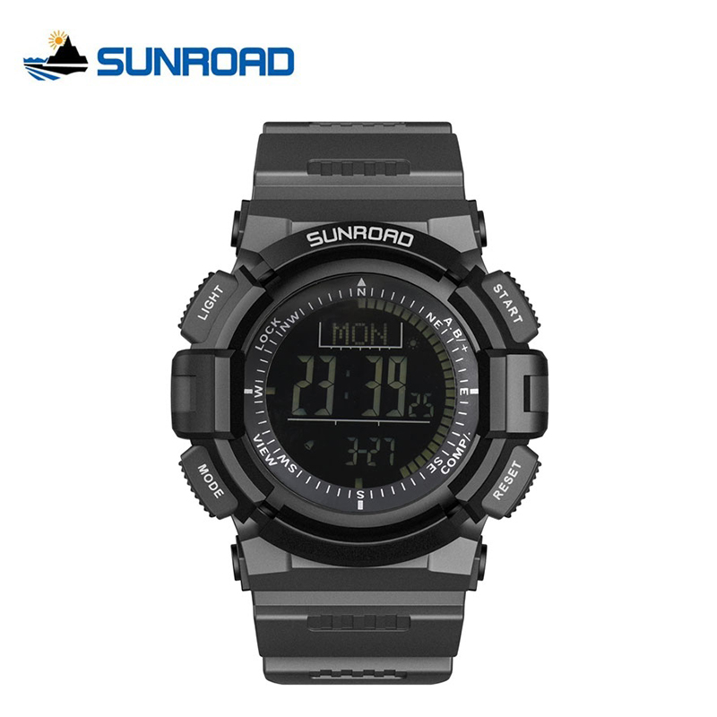 Digital Watches Watches Sunroad New Men Heart Rate Watch Compass Pedometer Altimeter 5atm Waterproof Digital Clamping Charging Sports Watches Relogio