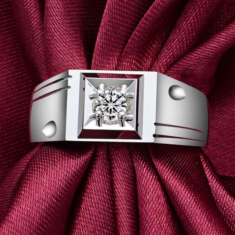 Diamond Solitaire Men Ring 0.11ct Natural Diamond Solid 18K White Gold Handmade Wedding Engagement Jewelry