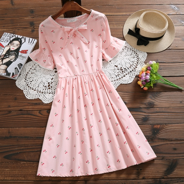 31d48d987e Mori Girl Summer Women Pink Green White Cute Dress Sweet Cherry Print Casual  Ropa Mujer Elegant Cotton Lady Kawaii Bow Dresses