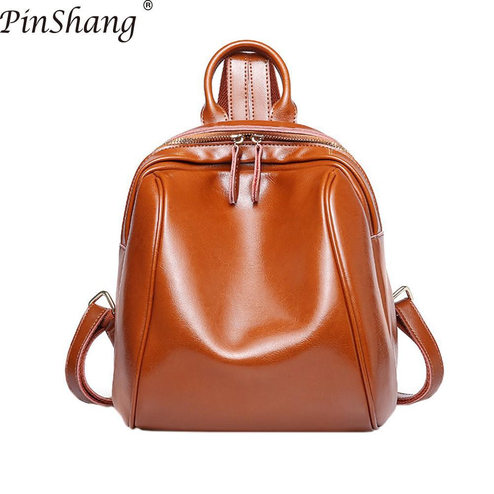 PinShang femmes sac à dos Vintage décontracté en cuir véritable sac à dos solide couleur Simple epaules sac cartable Daypacks femmes ZK50