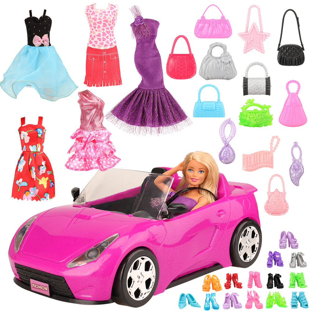 Handmade 26 Item/set DIY Doll Accessory Kids Toys For Girl = 1 Toy Car +5 Dolls Clothes +10 Random Shoes Objects For Barbie Game