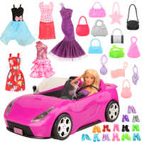 KidsToys For Girl handmade 26 items/set DIY Doll Accessory = 1 Toy car +5 Dolls Clothes +10 random shoes Objects For Barbie Game