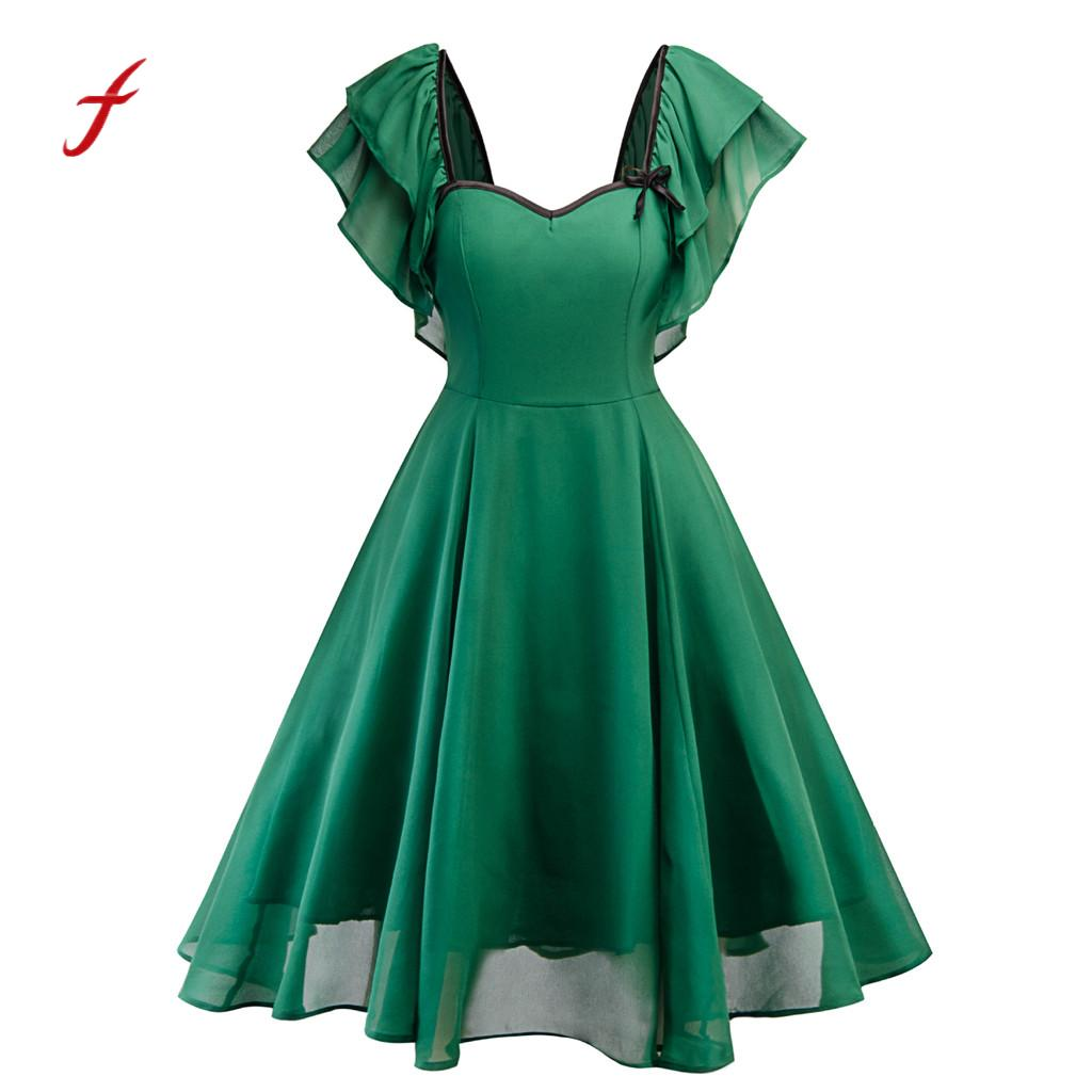 Vintage Women Flare Bow Chiffon Swing Party Dress Solid Green Short Sleeve V-Neck Lace Dress Women Large Size Empire Dresses /PT