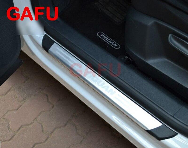 Pour VW Tiguan euro seuils de porte plaques de seuil protecteurs de seuil de porte bande de protection autocollants accessoires de voiture 2010-2016