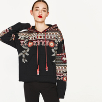 Boho Sweatshirts Floral Sequin Embroidery Black Women Hoodies Long Sleeve V Neck Pullovers With Tassels 2018 Autumn Winter New