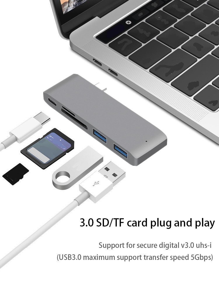 Thunderbolt 3 USB Type C Hub For MacBook 12 Inch USB-C Dock Adapter With Micro SD/TF Reader Slot For Mac Book Pro USB C HUB
