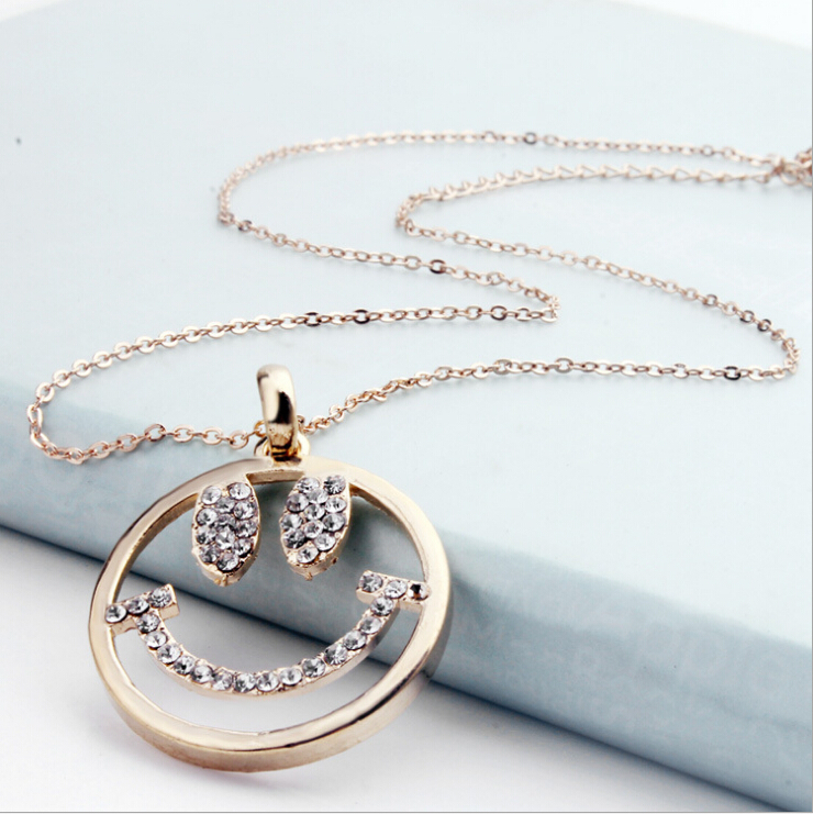 New Style Korean Style Simple Pendant Necklaces Round Smile Face ...