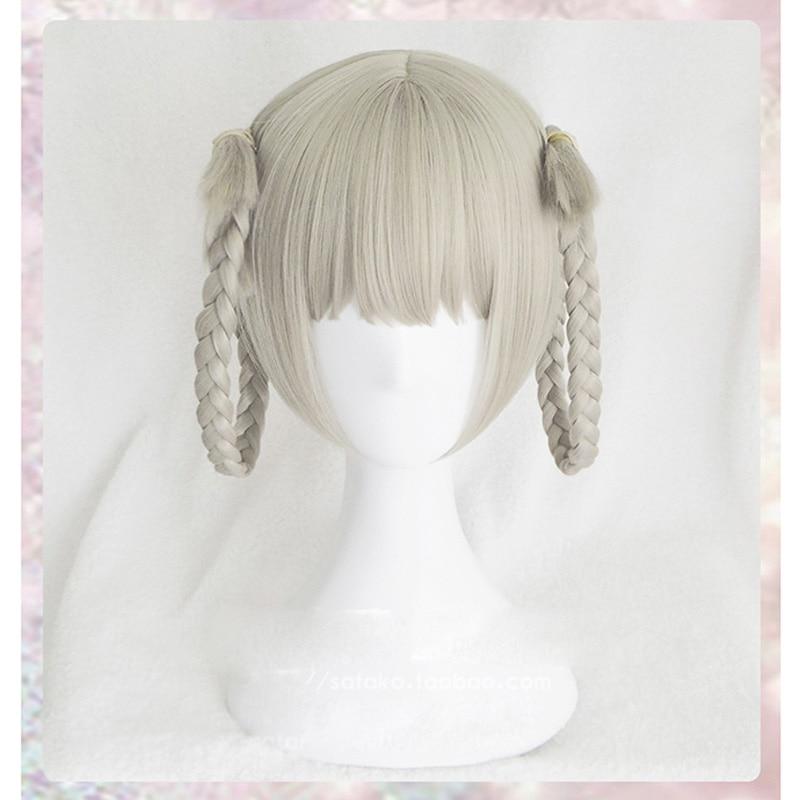 Japanese Anime Kakegurui Kirari Momobami 35cm Short Wigs Gray Braids Styled Clip on Cosplay Wig+ wig cap