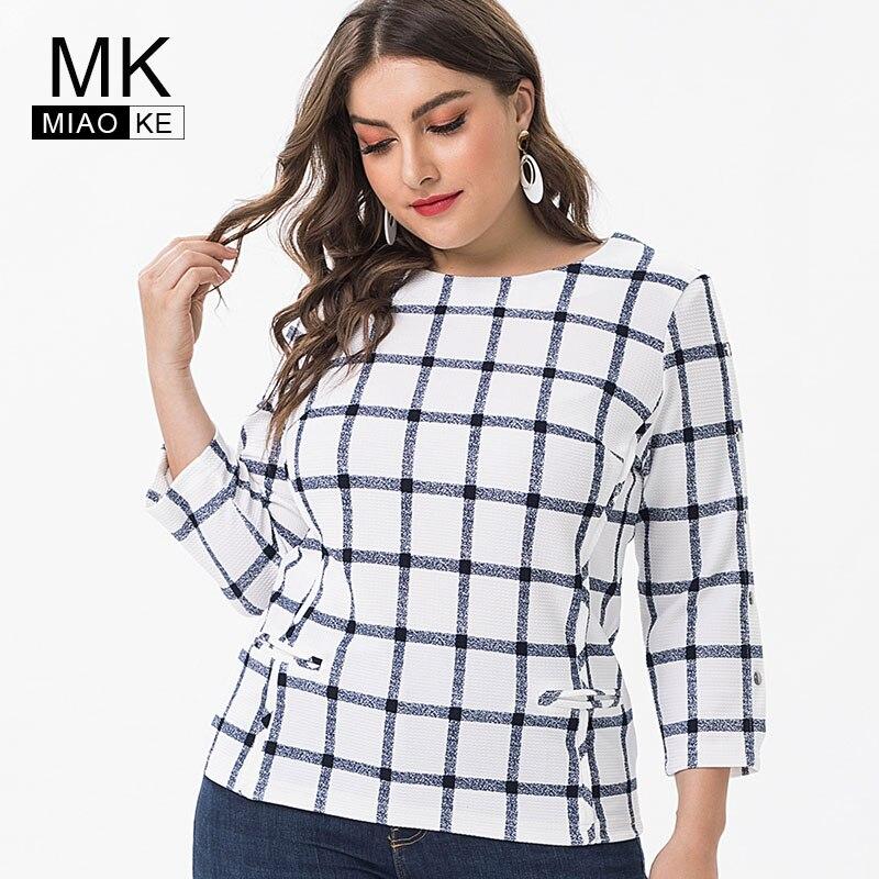 Miaoke 2019 primavera senhoras Plus Size tops e blusas de Algodão Xadrez das mulheres Vestuário de Moda tamanho grande elegantes feminino Camisetas