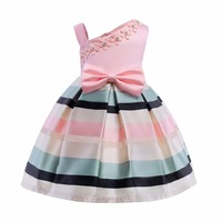 Girl Pink Dress Bow Stripes Princess Dress Of Girls Baby One Shouler Girl Formal Dresses Girl