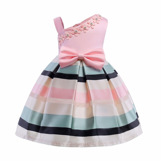 Girl Pink Dress Bow Stripes Princess Dress of Girls Baby One Shouler ...