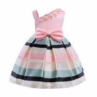 Girl Pink Dress Bow Stripes Princess Dress Of Girls Baby One Shouler Girl Formal Dresses Girl