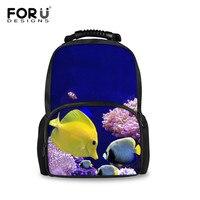FORUDESIGNS Backpack Sea Fish Schoolbags For Teenagers Children Daypack Travel Rucksack Large Capacity Mochila Infantil Bolsas