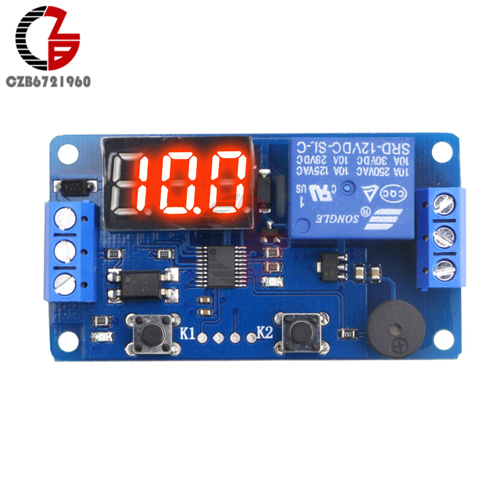 LED Pantalla digital M/ódulo de rel/é de retardo de tiempo DC 12V Control de temporizaci/ón Interruptor de temporizador programable M/ódulo de ciclo de disparo con estuche