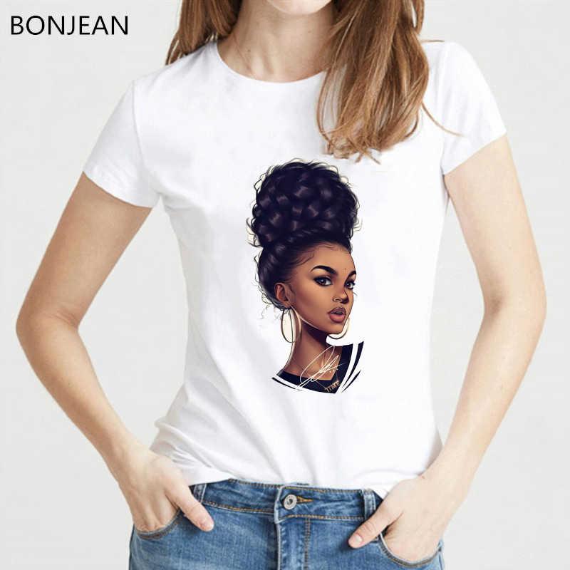 الميلانين بوبين قميص الأفريقي الأسود فتاة تي شيرت مطبوع فوج t قميص المرأة الصيف أعلى الإناث نعرفكم الملابس النسوية التي شيرت