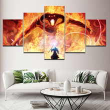 HD Printed Posters Wall Art bedroom Home Decor Pictures 5 Panel The Lord Of Rings Balrog and Gandalf Canvas Painting Artwork