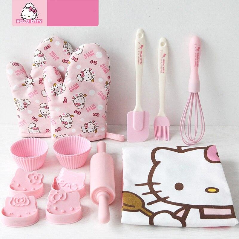 1 Set Leuke Cartoon Hello Kitty Schort Oven Handschoenen Cupcake Cups Bakken Set Kids Verjaardagsfeestje Gift Party Gunsten