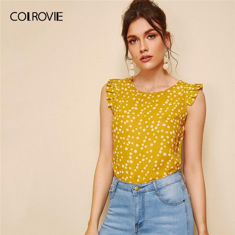 COLROVIE Yellow Frill Trim Polka Dot Casual   Blouse     Shirt   Women Clothes 2019 Summer Korean Cute Cap Sleeve Boho Ladies Tops